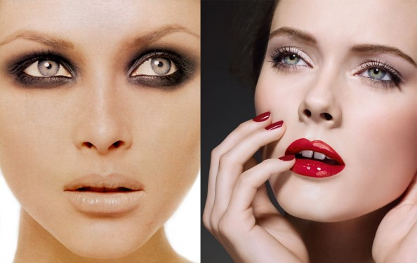 Smoky eyes vs red lips