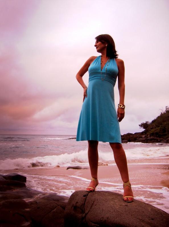 turquoise DIY dress golden bracelet Zoe Wittner heels