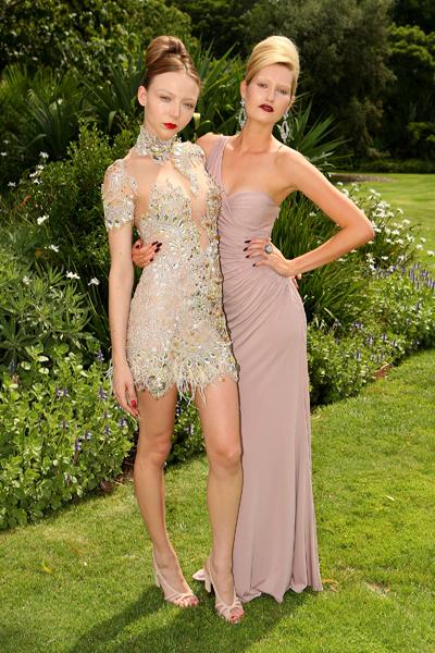Models at L'Oreal Melbourne Fashion Festival launch program beige outfit dark lips look, Melbourne Australia