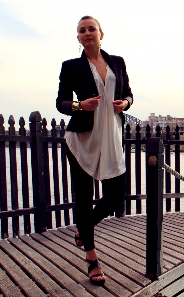 Black jacket, black and white outfit, black wedges, white crisp shirt, sleek hairstyle, chunky gold cuff, corporate style, Marusya V, fashion blog