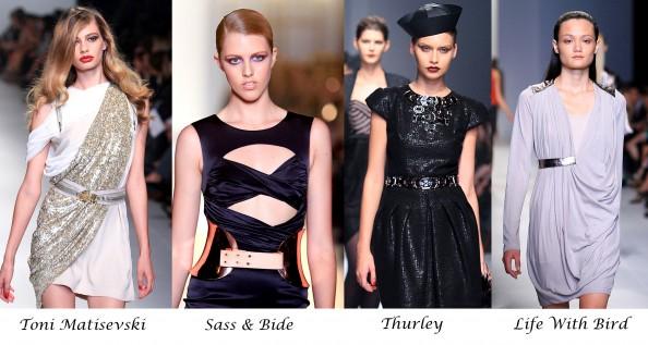 Trend report, LMMF 2011, Winter 2011, Sass and Bide, Nina Maya, Australian designers, metallic belts, sparkling belt, dress with a belt