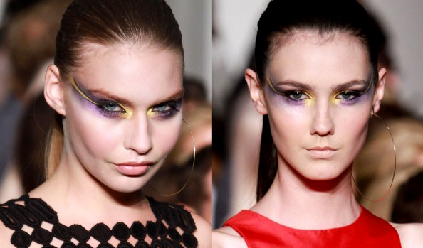 Alex Perry, RAFW 2011, makeup new trend, bold eyes, extended eyeliner, lilac and gold eyes
