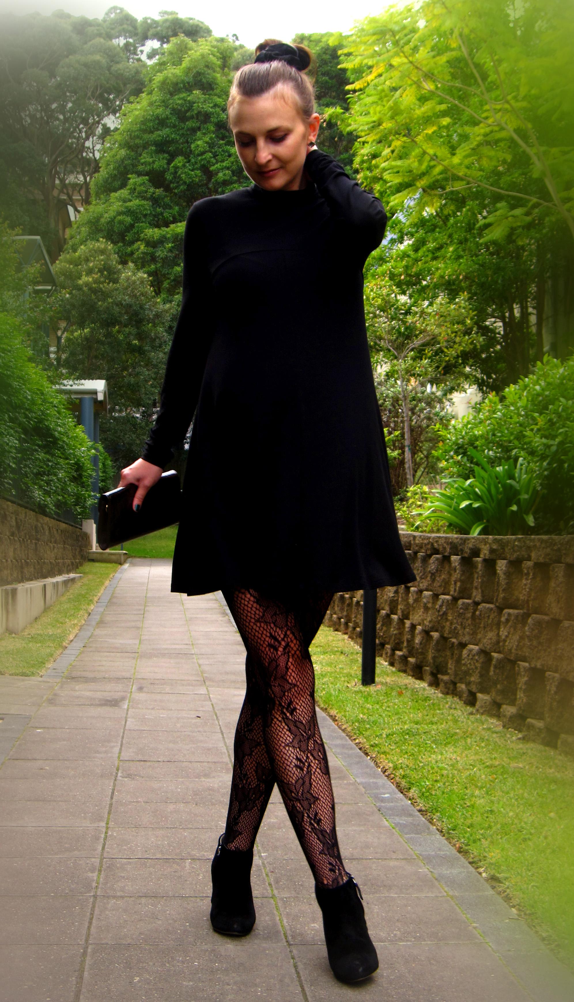 Lace dress and stockings
