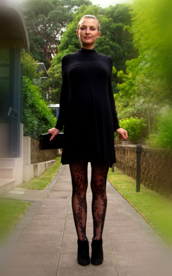 Black Witchery dress, lace stockings, styling for a night out, going out style, outfit for a dinner, Sydney fashion blog,