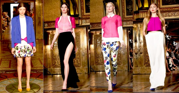Camilla and Marc, RAFW 2011, bold prints, clean cut top, thigh high side splits, neoprene, fashion trend 2011 2012