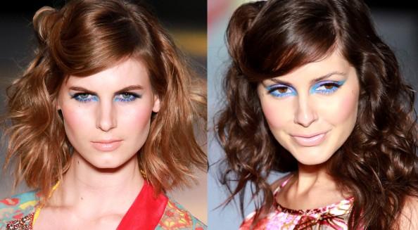 Roopa Pemmaraju, bold eye makeup, lilac and turquise eyeshadow, makeup trend 2011