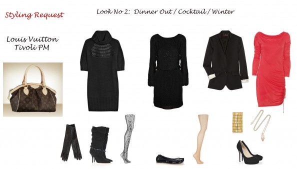 Styling advise, fashion blog, Sydney, crashingRed, styling Louis Vuitton bag Tivoli PM, winter cocktail look, dinner out, black sweater dress, high boots, lace stokings, jacket and silk dress