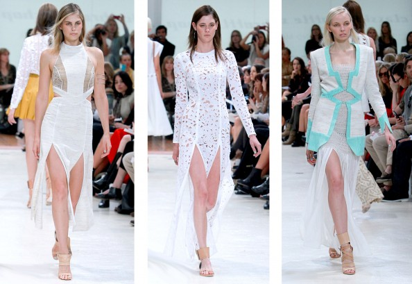 Zimmermann, lace, RAFW 2011, mint colour, summer style, thigh high side splits, 2011 2012 fashion trend