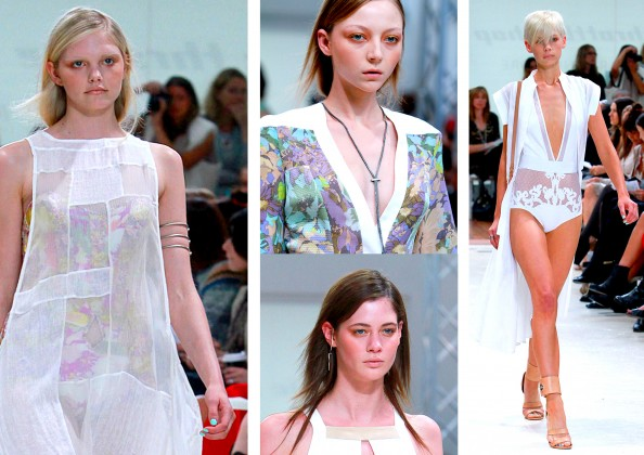 Zimmermann, metal chain neckalce, grecian upper arm cuffs, mint nail polish, RAFW 2011, winter 2011 fashion trends