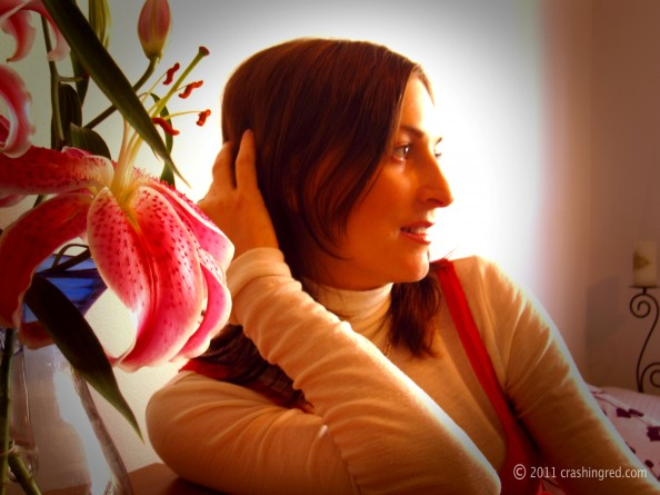Marusya V, fashion and lifestyle blogger, Sydney, portrait with lilies