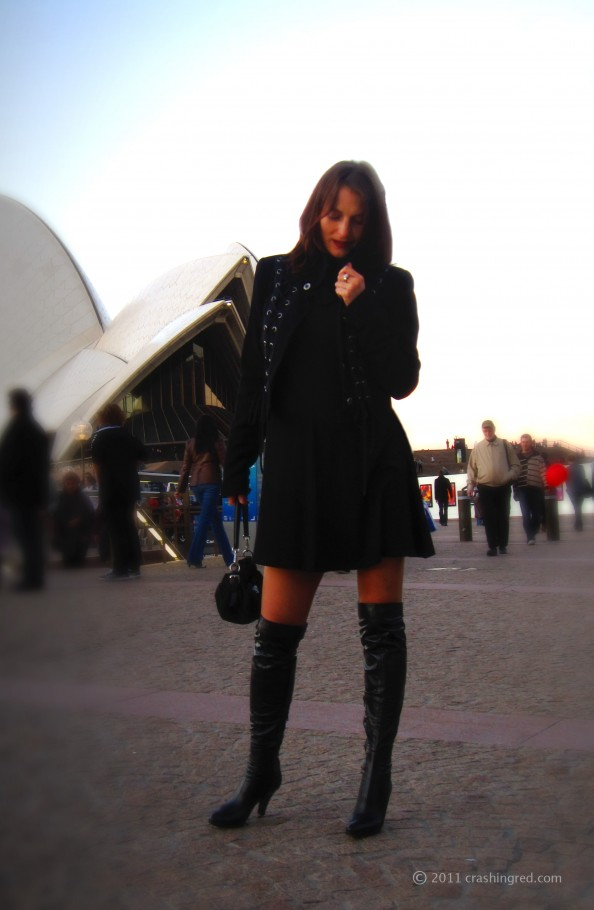 Marusya V, fashion blog Sydney, wearing black, military jacket, winter fashion 2011
