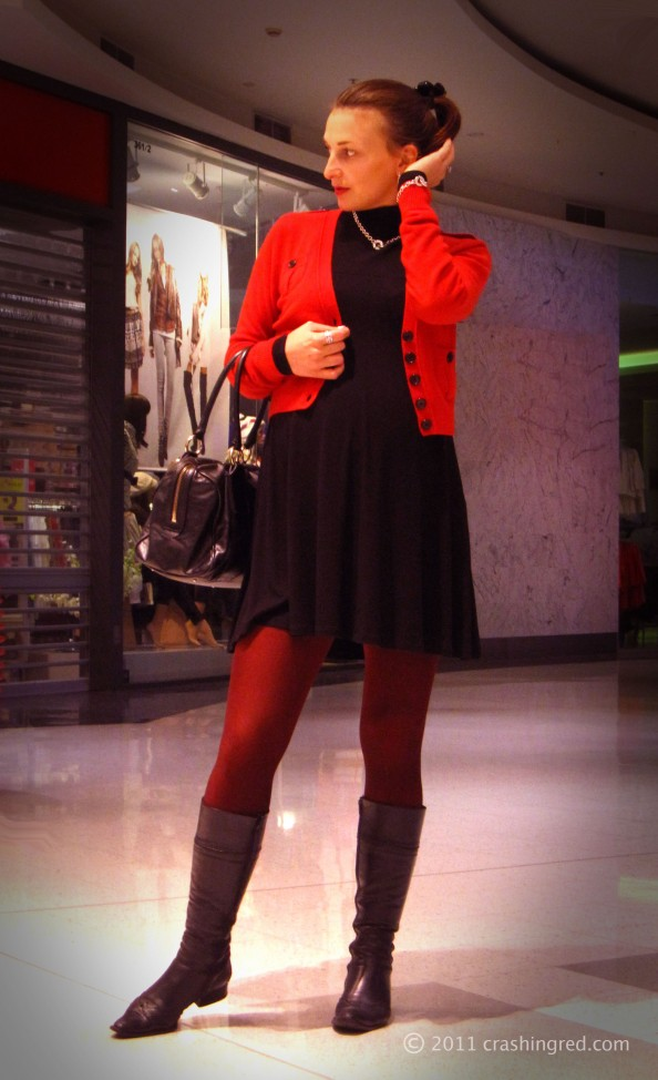 Red cardigan, silver, black dress, red tights, style ideas, winter, casual look, outfit ideas, fashion blog, Sydney, crashingred