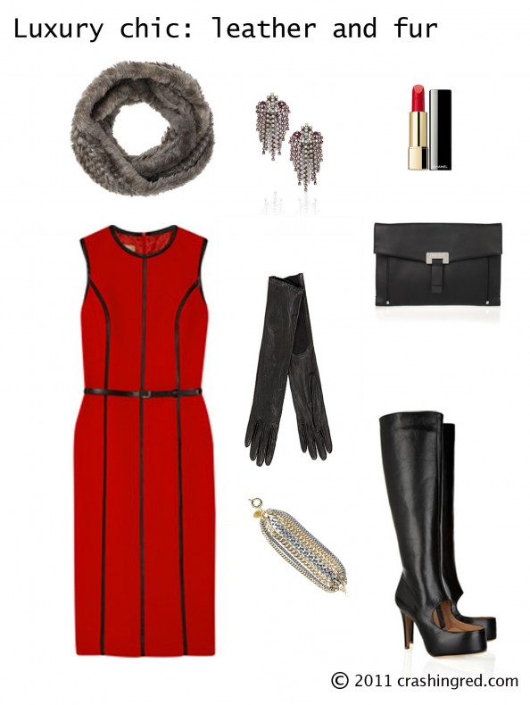 Styling red dress, minimalistic, chic style, long gloves, black leather high boots, luxury srtyle, leather and fur, red color, fashion blog, crashingred