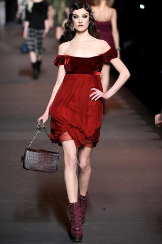 Christian Dior red A-line dress fall 2011, paris fashion week