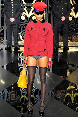 Louis Vuitton fall 2011, red jacket, no pants, new season hats style