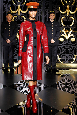 Louis Vuitton fall 2011interesting cuts red coat, red leather trench