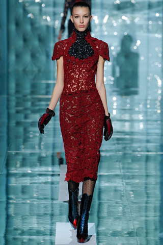 Marc Jacobs red lace dress fall 2011, paris fashion week, new season look