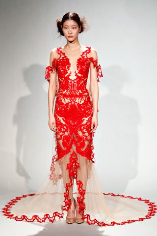 Marchesa lace red dress fall 2011