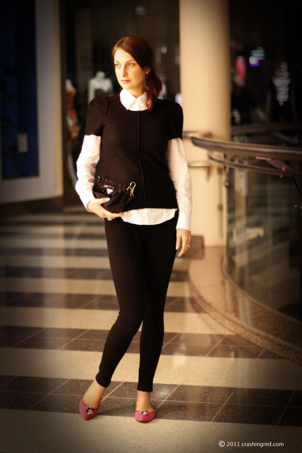 Country road black knit top, androgynous style, black and white, mimco shoes, styling white shirt, fashion blog Australia