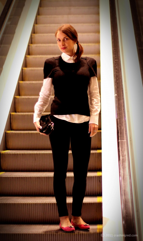 Country road top,androgynous style, winter 2011 style, black and white, mimco shoes, styling white shirt, fashion blog Sydney