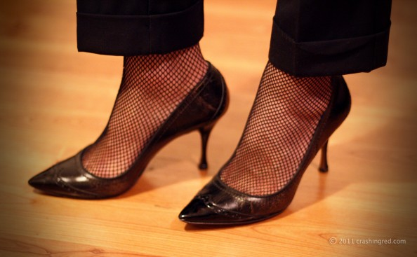 Dolce gabbana black heels and fish net stockings styling new season fashion blog australia