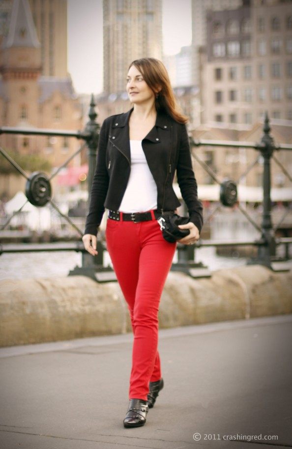 Red skinny jeans, Witchery, colored denim, new season fashion trend 2012, fashion blog Australia