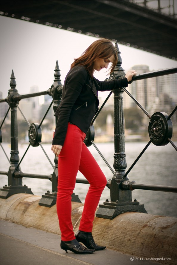 Styling red skinny jeans, Witchery, colored denim, new trend, fashion blog Australia