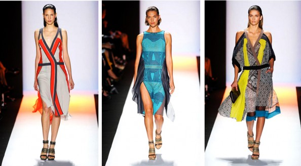 BCBG MAX AZRIA SPRING-2012 new york fashion week trend report, orange, sheer, bright color, graphic