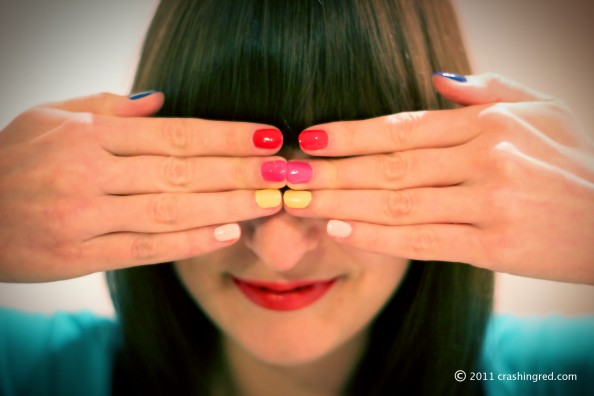 Multi color manicure, revlon top speed swatches, fashion blog australia