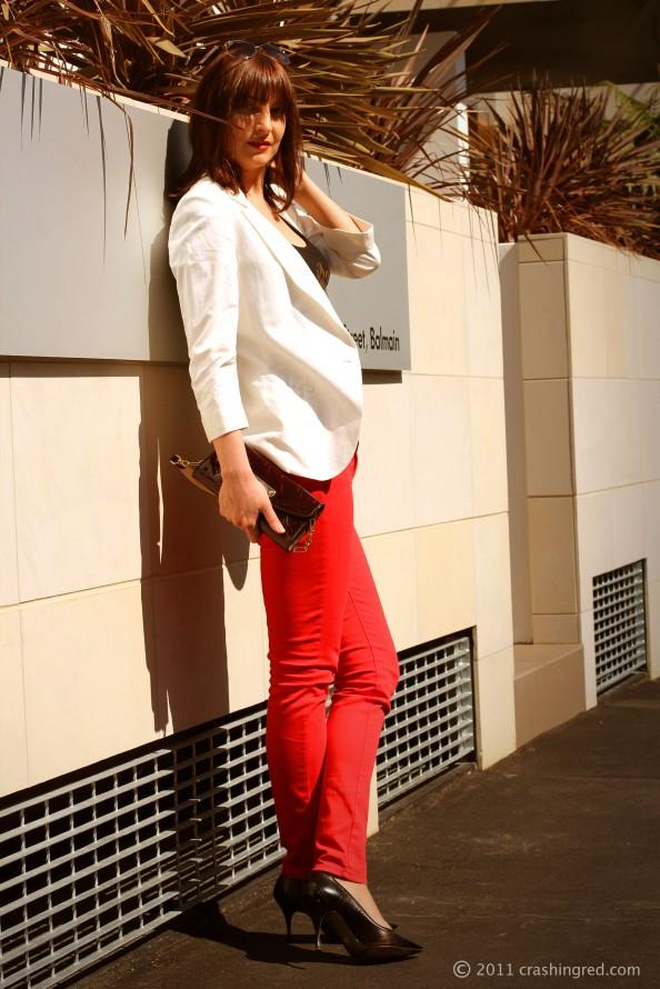 White blazer, red jeans, styling white jacket, new season fashion, summer style, fashion blogger Sydney, marusya V