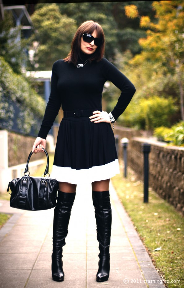 black turtle neck sweater, white stripe plaid skirt, over the knee leather boots, fashion blog, crashingred