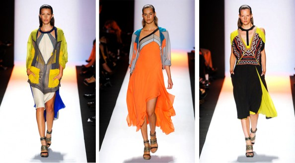 cut out shoulders bcbg summer spring 2012 new york fashion week trend report, graphic, yellow, blue, sheer fabric