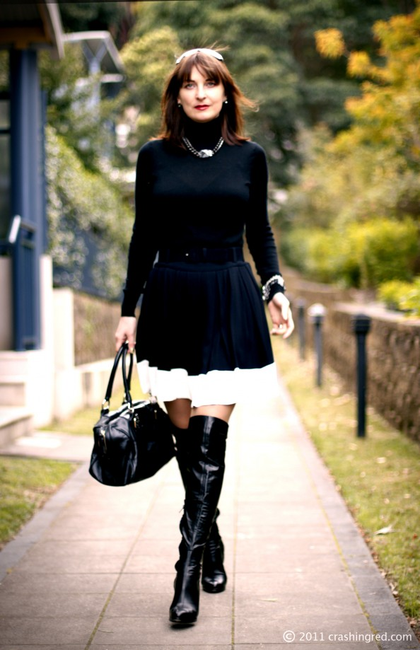 marusya v, black turtle neck sweater, white stripe plaid skirt, over the knee leather boots, fashion blog sydney