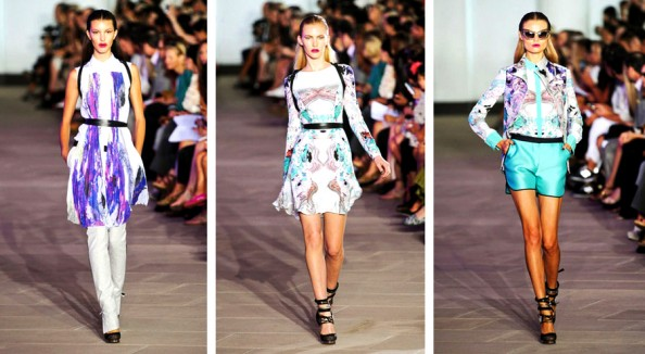 prabal gurung spring summer 2012 new york fashion week digital prints, pants with dress new fashion trend