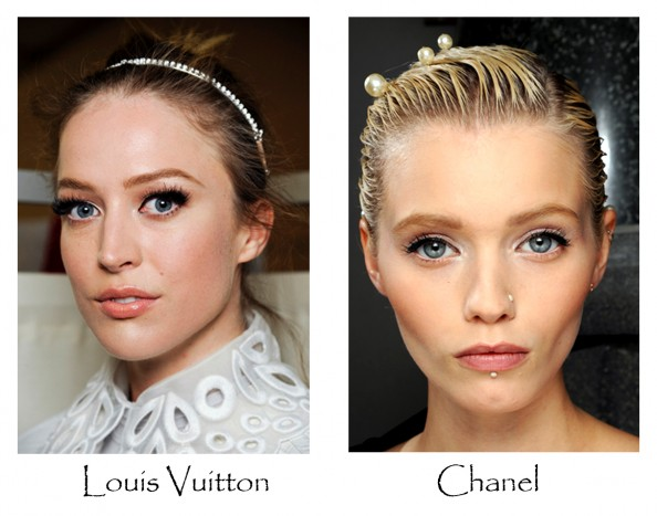 Louis Vuitton, chanel, beauty trends 2012, london fashion week, winged eye, shimmering eye shadows, makeup, beauty fashion blog australia