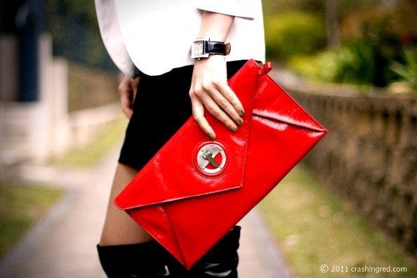 Mimco red clutch, chanel peridot, business chic, style for office, white blazer, crashingred, australia fashion blog