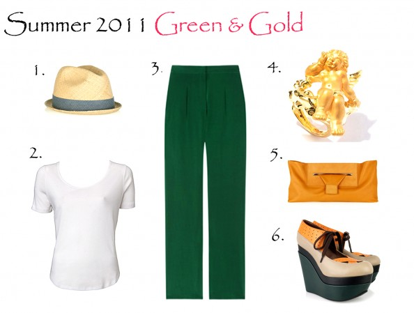Summer 2011 green and gold, super wedges, styling wide leg pants
