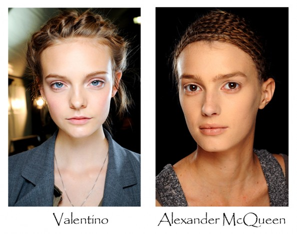 Valentino, Alexander McQueen, makeup trend 2012, london fashion week, bare face, shimmering eye shadows, makeup, beauty fashion blog australia