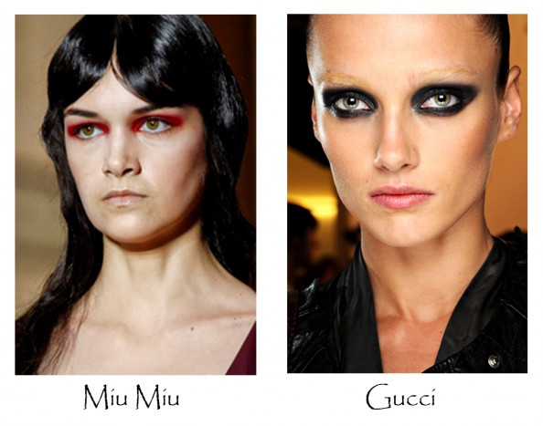 miu miu, gucci, beauty trends 2012, milan fashion week, statement eye makeup, red eye shadows, beauty blog sydney
