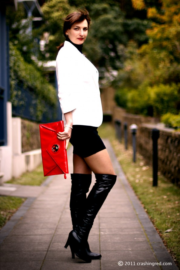 red leather clutch, business chic, office style, autumn 2011, white blazer, crashingred, australia fashion blog