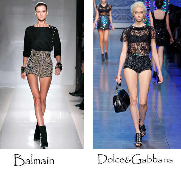 Embellished high waisted shorts, evening wear, fashion trends 2012, dolce and gabbana, balmain, blog sydney, crashingred