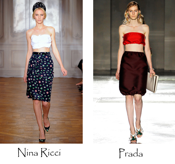 bandeau style bra top, bustier, hottest fashion trends summer 2012, fashion blog australia, prada