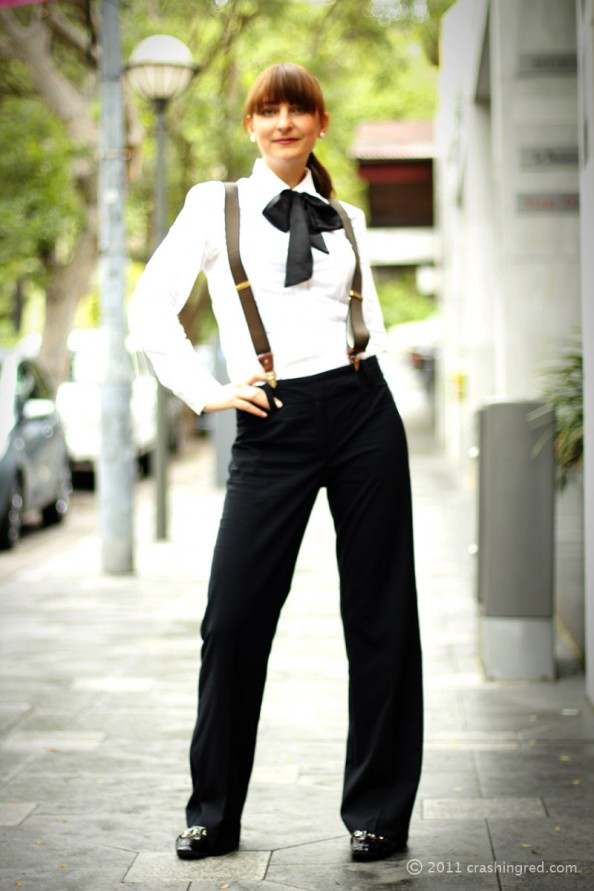 boy style for girls, how to style bow tie, business shirt, sydney fashion blogger, crashingred