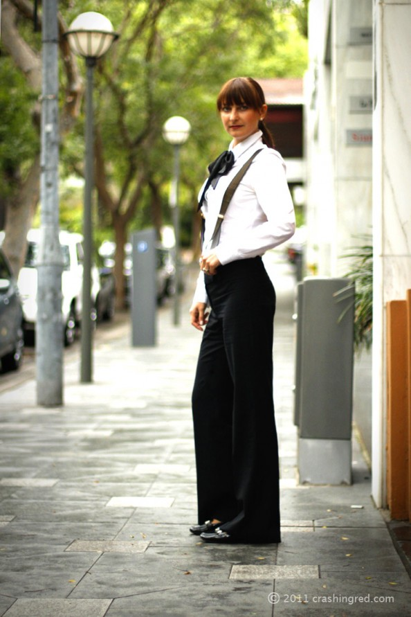 masculine style for women, how to style suspenders, bow tie, runway trend 2012, australia fashion blogger