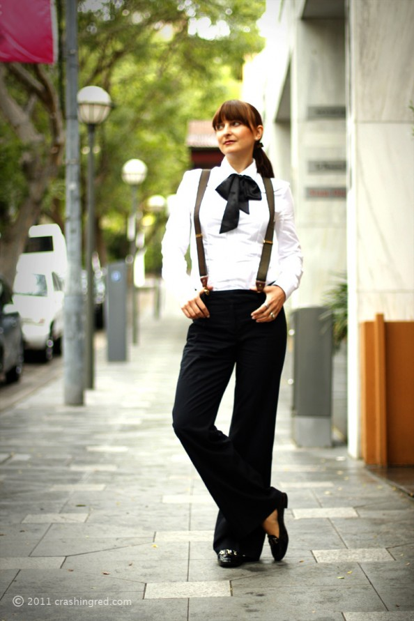 masculine style, how to style suspenders, bow tie, runway trend 2012, australia fashion blog