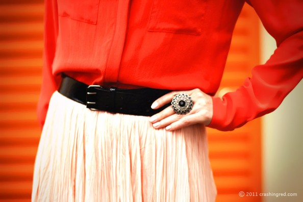 maxi skirt and silk blouse, summer style 2012, fashion blog, diva ring