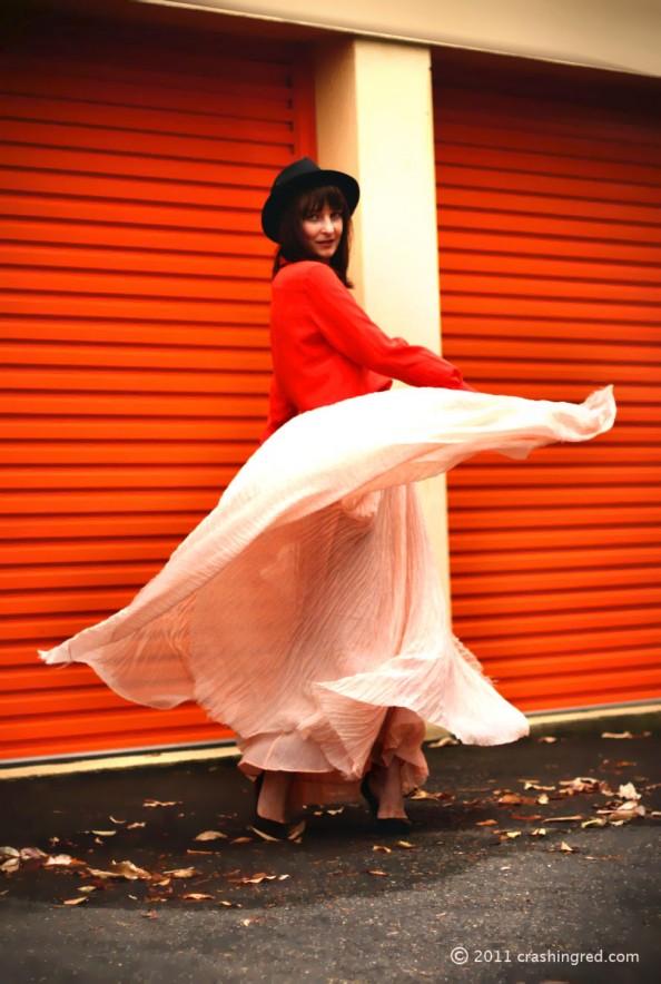 maxi skirt, sheer silk maxi skirt styling, fall 2011, fashion blog sydney