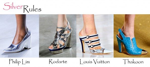 silver shoes, fashion trend summer 2012, philip lim, louis vuitton mules, thakoon mules, silver pointy heels, fashion blog australia