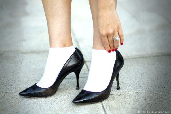 Black high heels and stockings, summer 2012 style, fashion blog