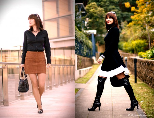 business style, leather skirt, over the knee long boots, sydney fashion blog